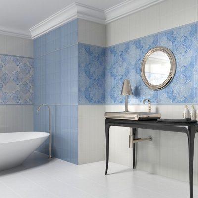 sinine valge vannituba keraamilised plaadid