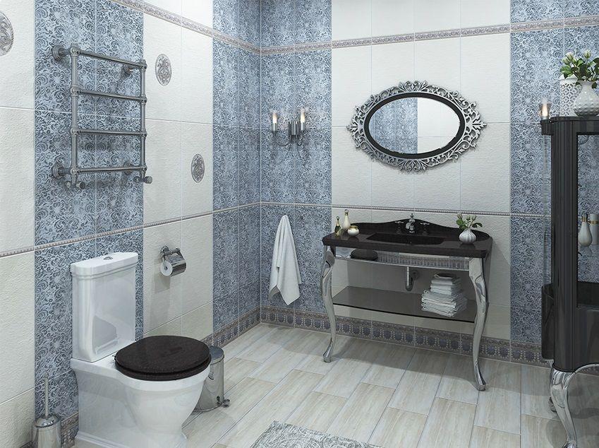 sinine hõbedane vannituba