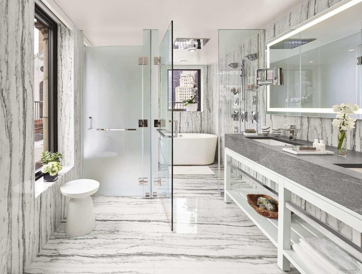 Vannituba kujundusideed LINTMAN marmor elegantne