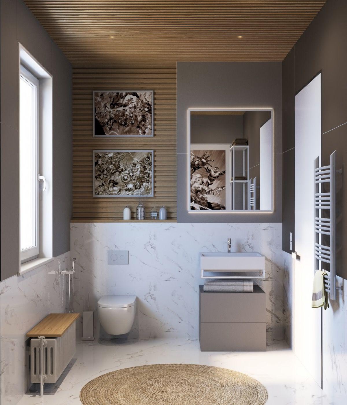 Vannituba kujundusideed LINTMAN väike vannituba marmor