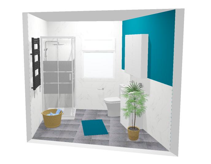 Väike vannituba 3D vannitoa põranda plaan