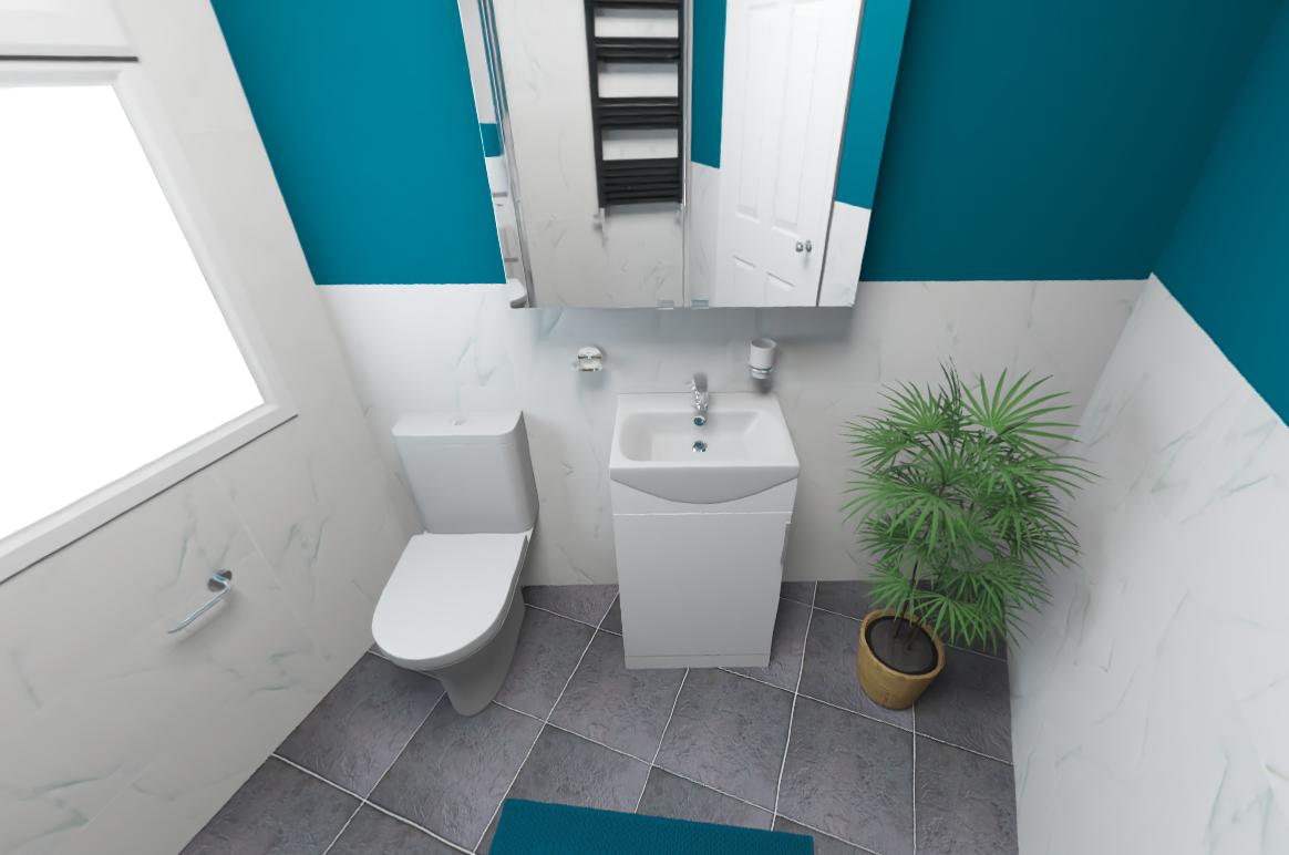Väike vannituba 360 vaade 3D disain vannituba