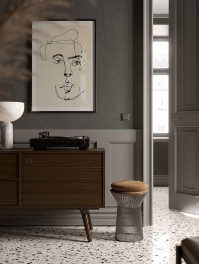 terazzo põrandaplaat elutoas