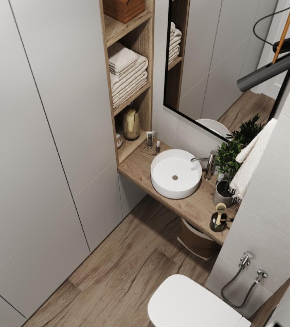 väike vannituba sisseehitatud mööbel