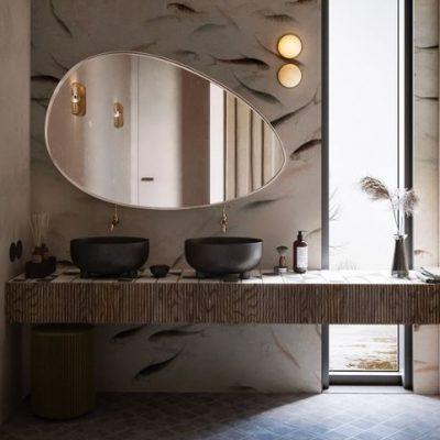 Erikujuline vannitoa peegel