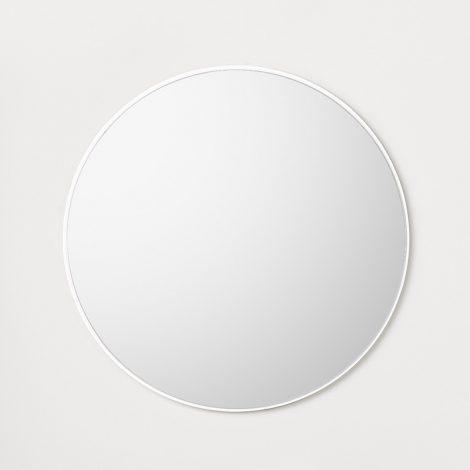 Valge raamiga ümar vannitoa peegel