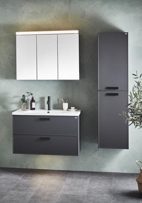 Hall vannitoamööbel mustade detailidega