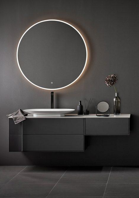 Valamukapp Edge 1600 ja LED valgusega peegel Store Rund 1000