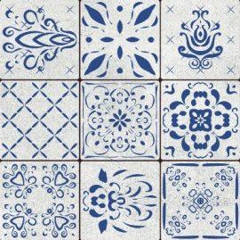 Mustriline põrandaplaat Portugal Blue Dekoor