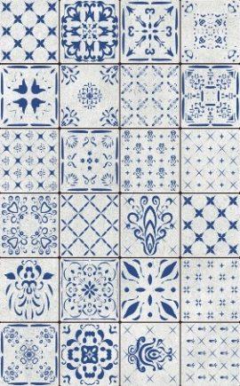 Mustriline seinaplaat Portugal Blue dekoor